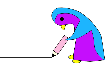 This is Serena the penguin holding a pencil drawing a line.